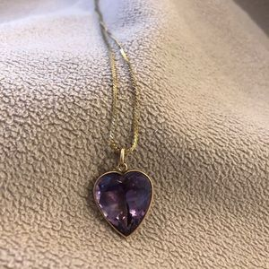 Jewelry - 14k yellow gold chain with large amethyst heart